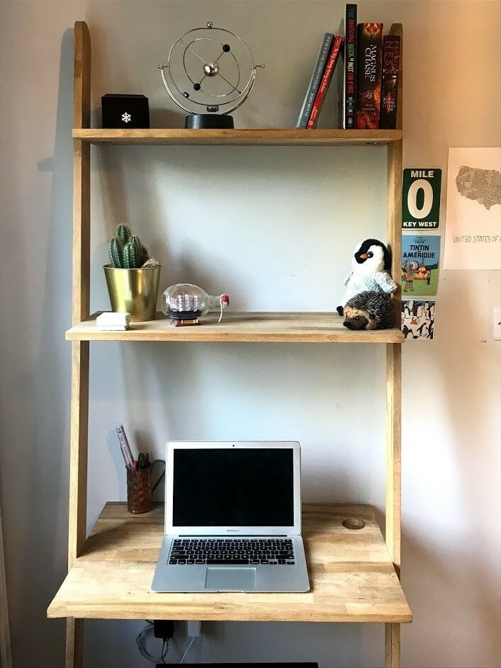 Solid Oak Lean To Ladder Desk From Futon Company