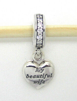 Authentic Pandora  791524Cz My Beautiful Wife Locket Heart Dangle Silver Charm