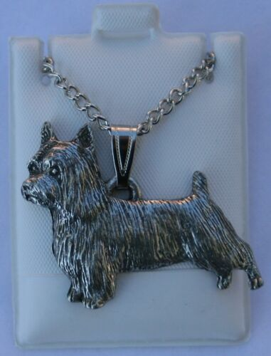 Silky Terrier Dog Harris Fine Pewter Pendant w Chain Necklace USA Made