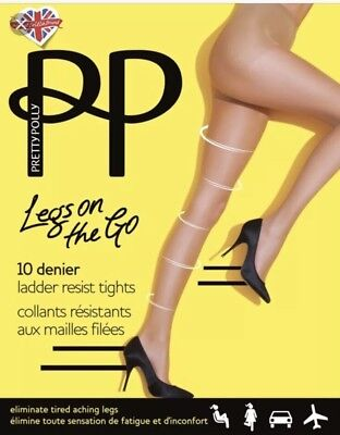 Go 2 Tight (2x Pretty Legs On The Go  10Den  Tights Barely  Black Small/Medium)