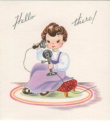 VINTAGE CUTE BRUNETTE GIRL OLD TELEPHONE RED POLKA DOT FOOT STOOL CARD ART PRINT