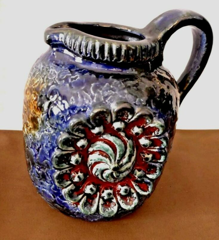 Dumler & Breiden German Relief 53/14 Pitcher Art Vintage Germany Pottery
