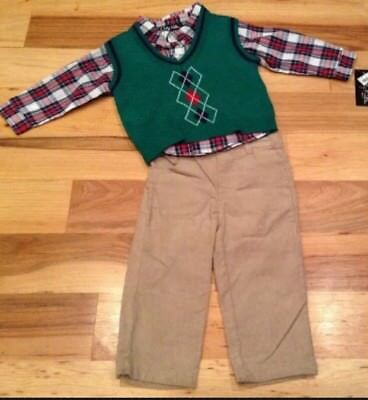 Only Kids Boys 12 Months 3-Piece Outfit. Green Vest, Dress Shirt & Pants. Nwt