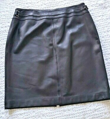 VALERIE Black 100% Genuine Leather A-Line Decorative Seams Back Zip Skirt Sz 16 A-line Back Zip Skirt