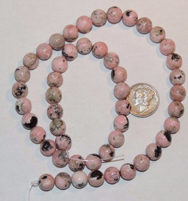 Rhodonite 8mm Round Drilled Gemstone Beads (8836)