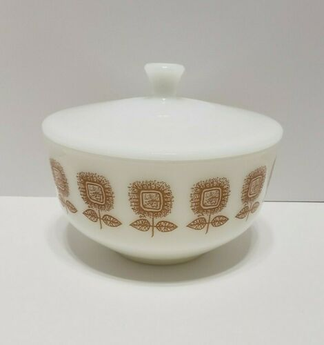 Federal White Milk Glass Brown Sunflower 2.5 QT Bowl with Lid