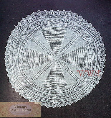 Vintage Knitting Pattern Shawl. Exquisite Circular Design ONLY £1.99 + FREE P&P! Free Pattern Knit Shawl