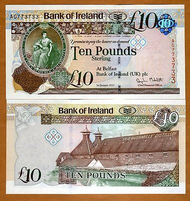 Bank of Ireland, 10 pounds, 2013, P-87, New Design UNC