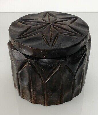 Vintage Carved Wood Box Folk Art Container - Tobacco Trinkets Etc