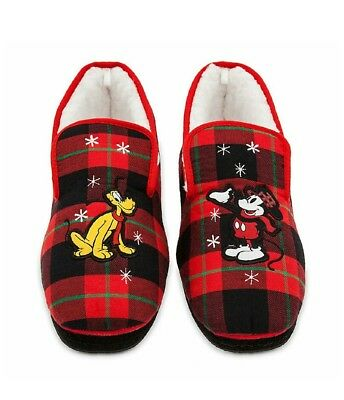 Disney Store Mickey Mouse & Pluto Adult Men's & Women's Red Holiday Slippers - Adult Holidays For Men