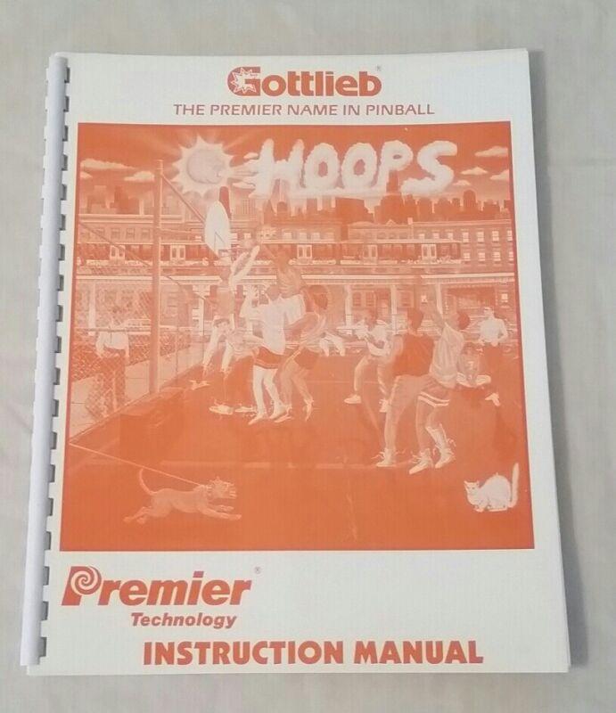 Gottlieb Premier Hoops Pinball Machine Original Manual Schematics NOS! Free Ship