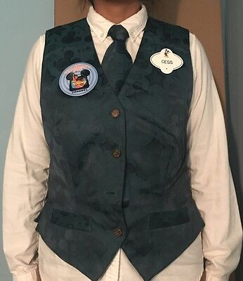 RARE Disney Cast Member Vest Sz Small w/ Pins From Now Closed 5th Ave NYC Store
