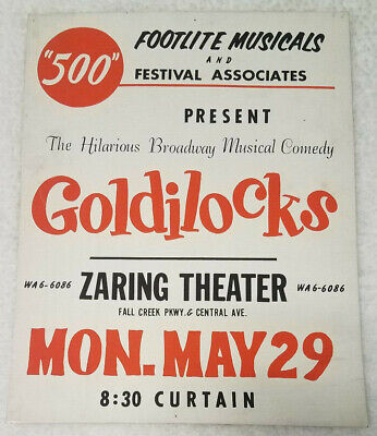 "Vintage Goldilocks musical comedy play Zaring Theatre 14""x11"" window card poster"