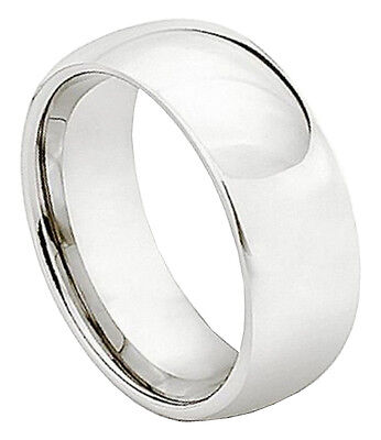 7mm Cobalt Ring Men Women Wedding Band High Polished Plain Classic Domed Style