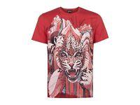 Men's Just Cavalli Red Tiger Print T-Shirt