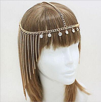 Sklaven Orient Kopfschmuck Haarkette Haarschmuck Gold Strassanhänger JH018