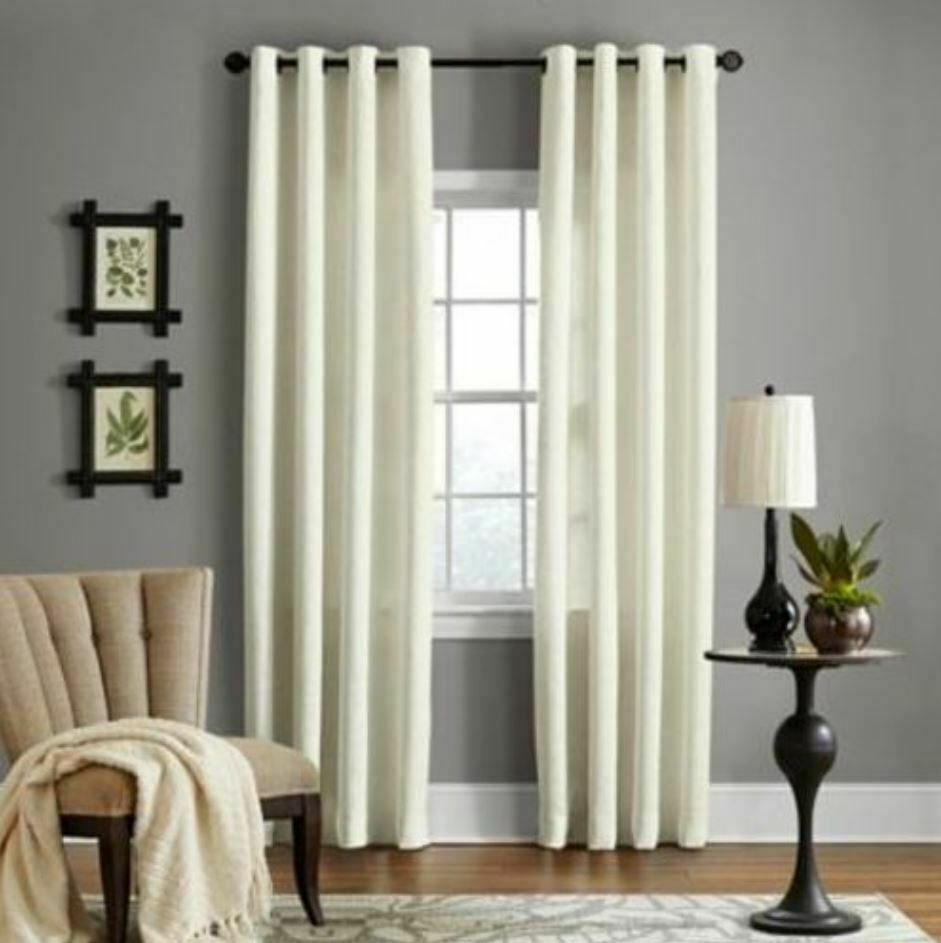 "Veratex Brooklyn 84"" Linen Grommet Window Curtain Panel in P"