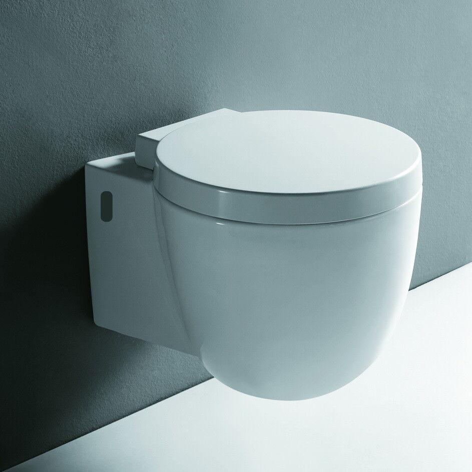 rund Wand Hänge WC Toilette Klo Tiefspüler Softclose Absenkautomatik Sitz Deckel