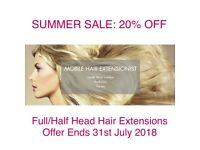 Summer Sale: 20% OFF! - 100% Russian Remy Human Hair Extensions in the comfort of your home.