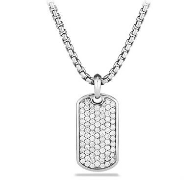 18K White Gold Iced Out CZ Dog Tag Stainless Steel Ball Chain Pendant Necklace Ball Chain Iced Dog Tag