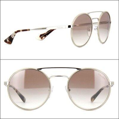 PRADA sunglasses women Round Silver Brown Gradient Mirror SPR 51S New Authentic