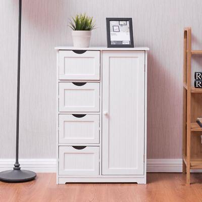 Farmhouse Bathroom Cabinet Kitchen White Floor Storage 4 Drawer Door Wood Towel