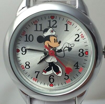 Disney Nurse Minnie Mouse Wrist Watch White Alligator Grain Band Red Heart Hand