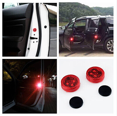 2x Universal Car LED Door Opened Warning Light Wireless anti collid Flash Light