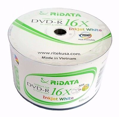 50 RITEK RIDATA Blank DVD-R DVDR White Inkjet Printable 16X 4.7GB Media Disc