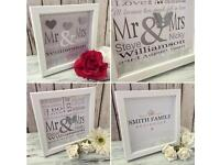 Personalised Wedding/Anniversary Handcrafted frame