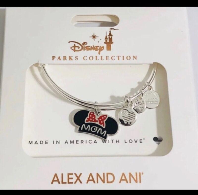 Disney Parks Alex & Ani Minnie Mouse Ears Mom Silver Charm Bangle Bracelet