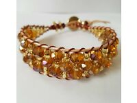 "Semi precious single wrap bracelet.Amber crystal on pearly leather. Fit up to 7½"" wrist. New"