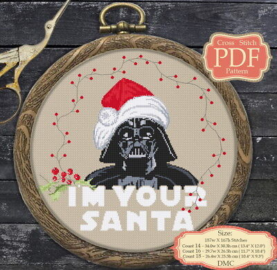 Darth Santa - Christmas Cross stitch PDF Pattern, Embroidery Hoop Art #052 ()