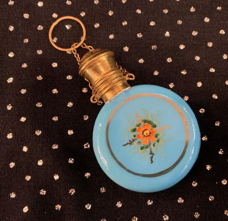 Sweet Antique Enamel Painted Blue Opaline Czech Glass Perfume Bottle