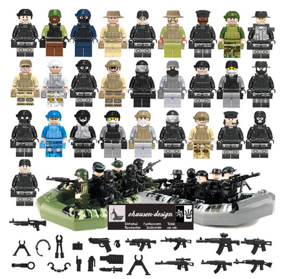 Armee 28 Soldaten mit Booten Bausteine Militärset US-Army Waffen LEGO kompatibel