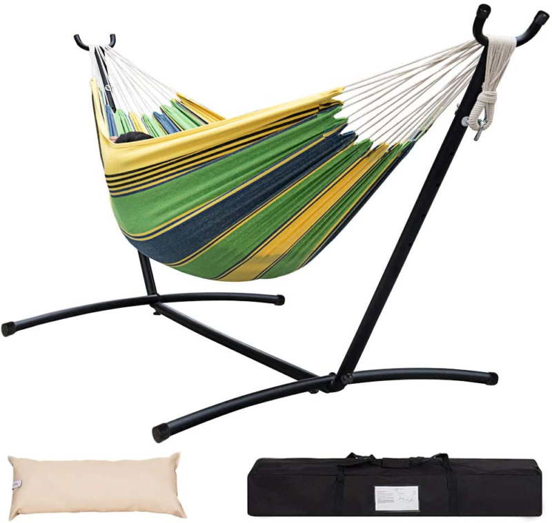 Double Hammock Bed W/ Steel Stand Camping  Portable Carrying