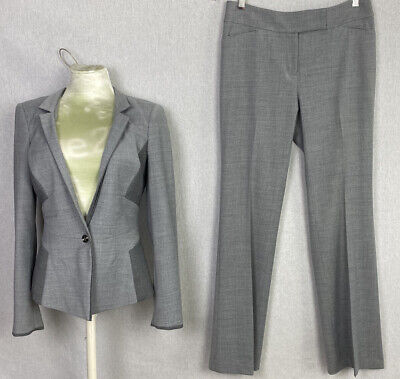 White House Black Market Light Gray Jacket & Pant Suit SIze 4 Reg Wool Blend EUC