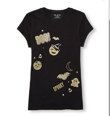 Girls Short Sleeve Glitter Halloween Emoji Graphic TeeSize 7/8](Glitter Graphics Halloween)