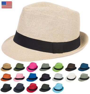 Mens Womens Summer Plain Light Paper Straw Fedora Trilby Hat Hats Gangster Black](Fedora Black)