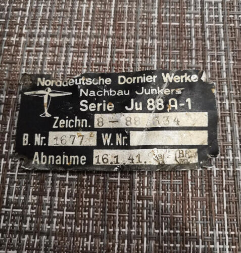 Junkers Ju 88 factory producer plate