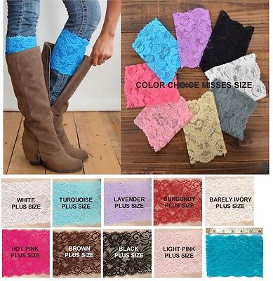 Lace BOOT CUFFS Leg Warmer Topper *Grace* Misses & Plus Size USA Seller FREE SHP Lace Boot Topper