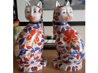 Large Japanese Imari Cats