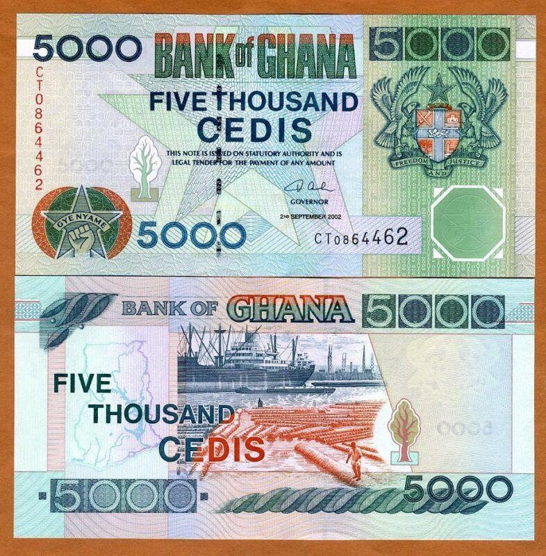 Ghana / Africa, 5000 Cedis, 2002 P-34 (34h), UNC