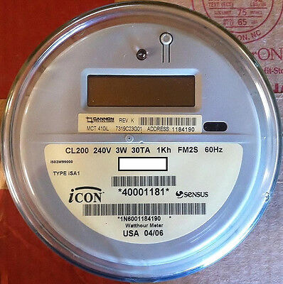 Sensus Watthour Meter Kwh Icon Type Isai 240 Volts Fm2s 200 Amps 4 Lugs