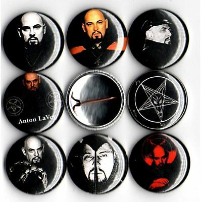 Anton LaVey x 8 NEW 1 inch pins buttons badges church of satan satanic bible