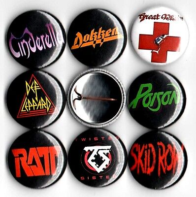 80's hair metal x 8 NEW 1 inch pins buttons badge poison ratt skid row dokken