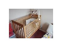Mamas and Papas wooden Cot with mattress, bumper, blankets, sheets and mobile