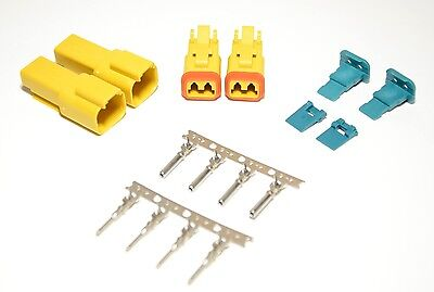 2 x AMPhenol AT Yellow 2-Pin Connector Kit, 14-16AWG Stamped Contacts, USA
