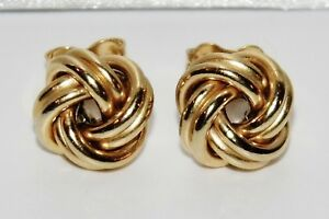 9ct Gold & Silver Celtic Knot Ladies Stud Earrings