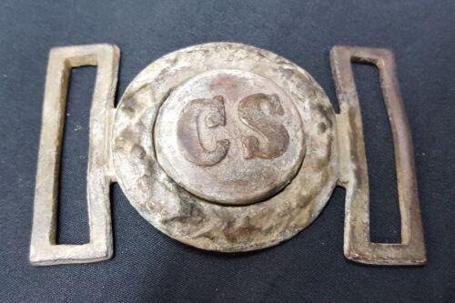 New Civil War Reproduction CS Tongue & Wreath 2 Piece Brass Belt Buckle